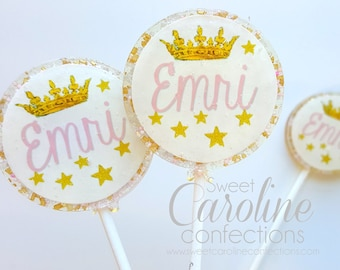 Princess Lollipops, Pink and Gold Favors, Candy, Party Favors, Sparkle Lollipops, Pink Lollipops, Little Girl Party, 6/Set