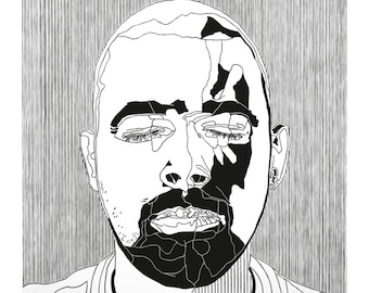 Sleeping Beauty III - Portrait of man with beard in black printed on white paper, hand-made lino print