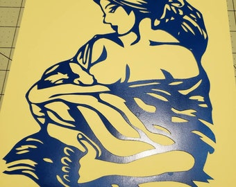 Breastfeeding, mother, papercut, decoration, decor, wall art, paper art, breastfeeding papercut, nursing, feeding, home decor, blue