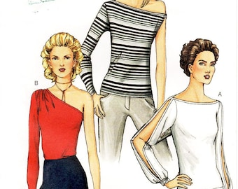 Sz 8/10/12 - Vogue Top Pattern 7523 - Misses' Close-Fitting, Pullover Top in Three Variations - One Sleeve or Split Sleeve - Vogue Patterns