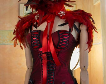 Fairy dress shawl red feathers