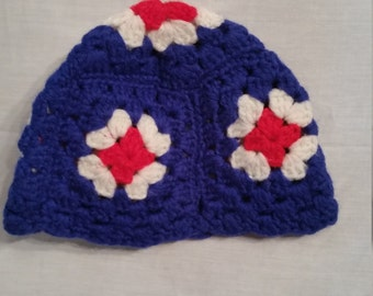 "Child's size vintage granny square hat, handmade by Grandma, crocheted 18"", stretches to 20"", beanie"