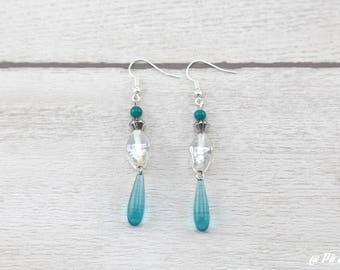 Earrings turquoise blue and silver #1140