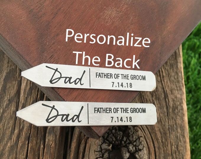 Father Of The Groom Collar Stay Wedding Collar Stay Father's Day Gift Engraved Collar Stay Wedding Party Gift For Father Of The Groom