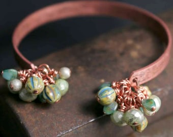 Green Turquoise Blue Czech Glass Beads on Open Solid Copper Cuff Bracelet Charm Bracelet with Dangles for Her Gift Idea Boho Style