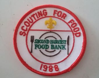 1988 Scouting For Food Second Harvest Food Bank Boy Scout Embroidered Sew On Patch