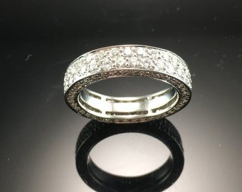 Two Row Diamond Pave Eternity Band- 18K White Gold Diamond Eternity Band- Diamond Pave Anniversary Ring- Two Row Pave Diamond Wedding Band