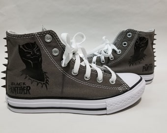 Black Panther Spike Converse- Gray High Top Shoes and Spikes for Boys or Girls