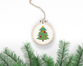 Christmas Tree Cross Stitch Pattern Xmas Digital Download Simple Needlepoint DIY Christmas Decor Holiday Crafts Decorated Fir Xmas Jewelry