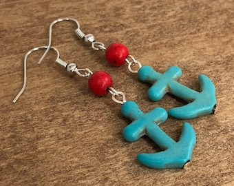 Anchor Earrings, Turquoise Anchor Earrings, Turquoise Earrings, Red, Gemstone Earrings, Nautical, Drop Earrings, Handmade Earrings, Pilboxx