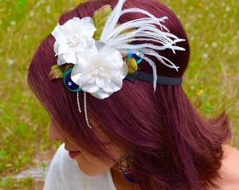 IVORY ROMANCE Feather Flower Headband
