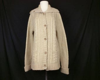Vintage Cardigan Sweater Light Brown Cable Knit Women's L 70s It's Pure Gould