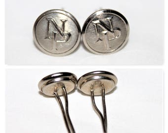 Vintage Pair Northern Pacific Railroad Conductor Chin Strap Buttons, Hat Buttons, Wire Back Buttons