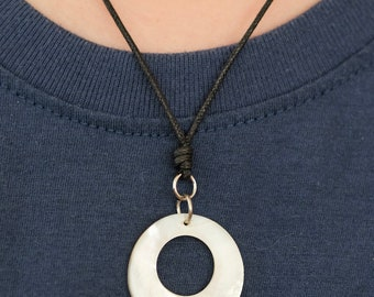 Mother Of Pearl Ocean Shell Hole Punch Necklace