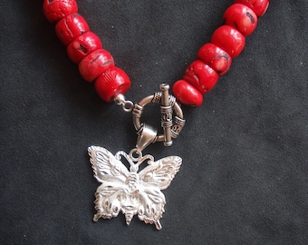 Red Coral Beaded Necklace with Silver Butterfly Pendant