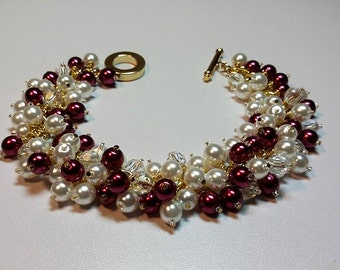 Red Bracelet, White Bracelet, Pearl Bracelet, Gold Bracelet, Valentines Day Gifts for Her, Bridesmaid, Chunky, Sister Gift, Birthday Gift