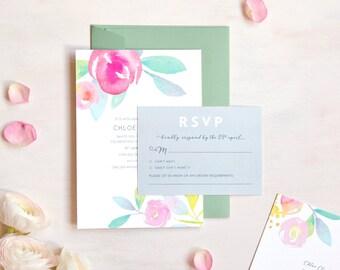 Rose Garden Wedding Invitation and RSVP