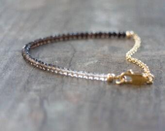 Smoky Quartz Bracelet, Gift for Her, Smokey Quartz Jewelry, Ombre Bracelet, Gemstone Jewelry, Dainty Bracelet, Stacking Bracelet, Mom Gift