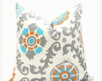 15% Off Sale Decorative Pillows, Orange Gray pillow, Aqua Pillow, Aqua Gray Pillow, Accent Pillow, Throw Pillow, Toss Pillow , Cushion Cover