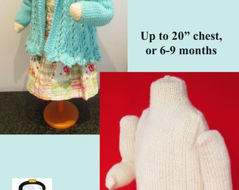 """Knitting pattern for baby mannequin to fit up to 20"""" chest, or 6-9 months"""
