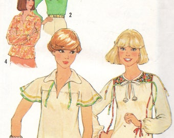 8079 Simplicity Sewing Pattern Pullover Top Size 12 34B Vintage 1970s