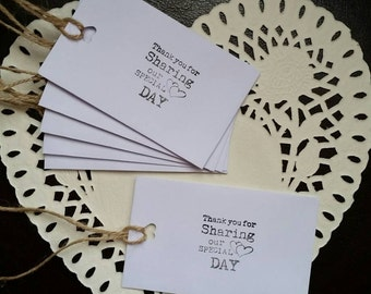 "10 WHITE WEDDING FAVOUR thank you envelopes with string. chocolates/messages .""Thank you for sharing our special day """