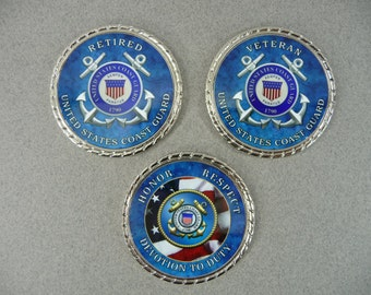 COAST GUARD Coin Retired Veteran Challenge Coin Retirement Custom Personalized Memorial USCG Military Gift