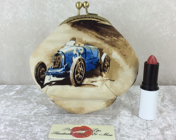 Handmade coin purse frame kiss clasp fabric change wallet pouch Classic Cruisers Racing Cars