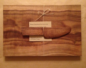 Oregon Black Walnut Cuttingboard Cheeseboard with Hand Carved Wood Spreading Knife