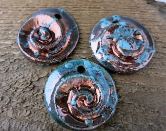 Mykonos Sea and Moss Raku Pendant, 35mm Nautilus Spiral, Ceramic Pendant with hole, Made in Greece, MRN355