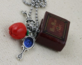 Once Upon A Time Book Necklace V2 - Poison Apple, Queen's Keys and Mirror - snow white - fairy tales - ouat - hook - Jewelry - Librarian