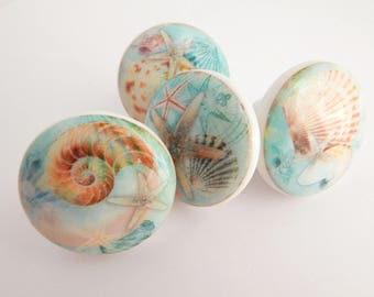 Seashell Knobs, Nautical Knobs, Sea Knobs, Starfish, Beach Drawer Pulls -  Choose your quantity - Made to order