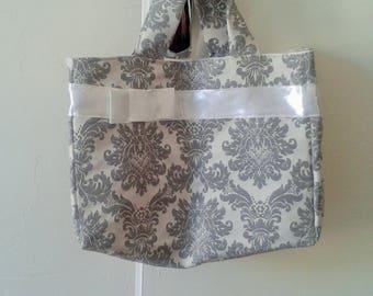 Bag fabric baroque grey and White Ribbon