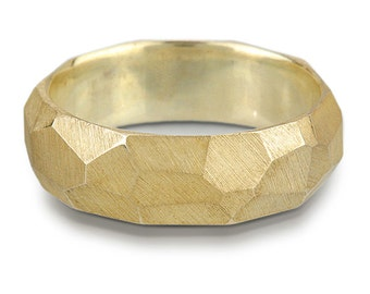 14k Yellow Gold Chiseled Ring - Faceted Band, 7mm - 4mm wide