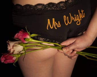Wedding lingerie,  bridal underwear, personalised knicker, wedding present, personalised wedding, bridal lingerie, French knickers, Mrs name