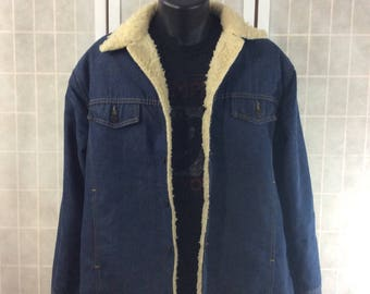 Vintage 1960-70's Roebucks Denim Jean Jacket Faux Sherpa Lined Gently Worn Great Condition Mens 44 R