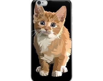 iPhone 6, iPhone 6s Plus, iPhone 6 6s Plus, iPhone 7 Plus, iPhone 8 Plus, iPhone 7, iPhone 8, iPhone X, Abstract Orange Kitten iPhone Case