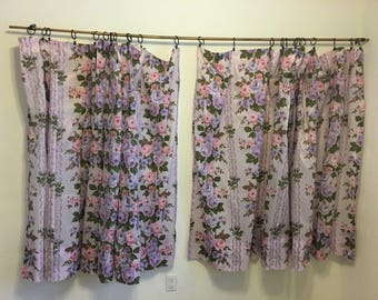 Curtains, Purple Floral, Vintage Curtains, Vintage Drapery, Pair of extra wide curtain panels