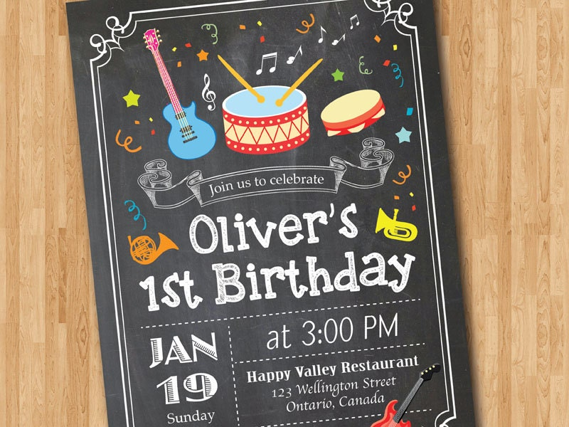 Rock and Roll Birthday invitation. Music Birthday Invitation.
