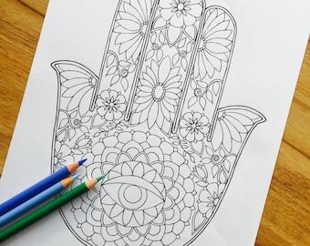 Hamsa One - Hand Drawn Adult Coloring Page Print