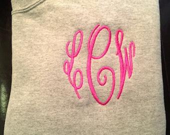 Embroidered Monogrammed Crew Neck Sweatshirt