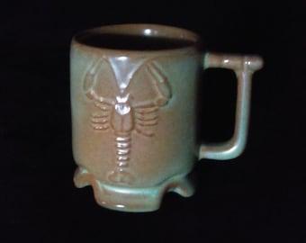 Frankoma Pottery Louisiana Crawfish MINI Mug/Shotglass - Prairie Green - Marked FP IC- Set of 2