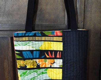 Tropical Multi-colored and Black Improv Quilted Tote Bag