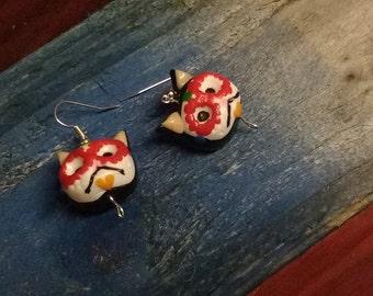 handmade mexican sugar SKULL cat  EARRINGS HALLOWEEN .Buy Directly From Artist.TWOPI1DB