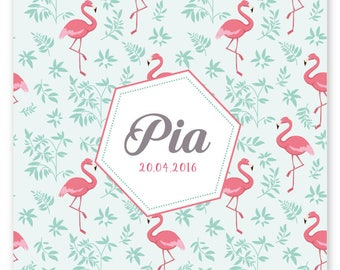 Flamingo Pink, original and modern to be personalized birth announcement
