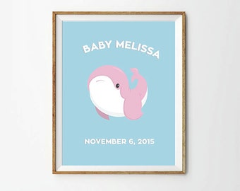 Baby Whale, 5 x 7 in, 8 x 10 in, 11 x 14 in, Custom baby name, Personalized baby girl print, Custom nursery art, Baby Name Printable