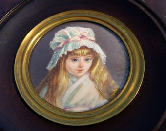 "Vintage French hand painted portrait miniature painting of a young girl - ""Cherry Ripe"""