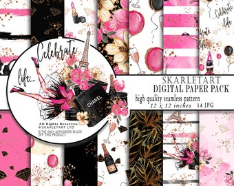 Fashion Paper Pack Paris Background Floral Glam Digital Paper Pack Background Chanel Lipstick Cute Dog Girly Planner Cover DIY Pack