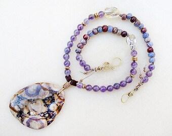 Purple Necklace, Jasper Pendant, Dinosaur Jasper, Eye Jasper, Amethyst, Citrine, Leather, Gold, February Birthstone, Handmade, Gift for Her