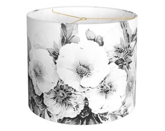 14 Inch  - READY TO SHIP - Linen Paris Nights Hollyhock Drum Lamp Shade - Black and White Flower Lampshade - Quick Ship - Sample Sale